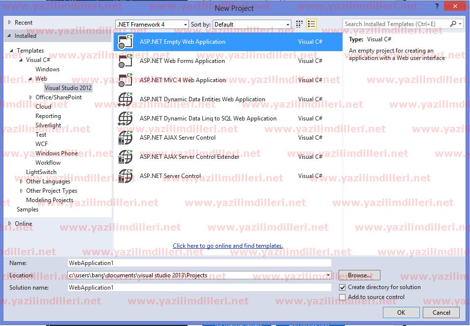 Visual Studio 2012 Web Application Oluşturmak