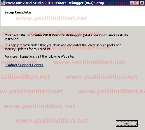Visual Studio 2010 remote Debugger (x64) Setup Kurulumu