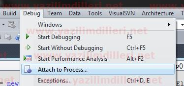 Windows servisini debug etme (Attach to Process)