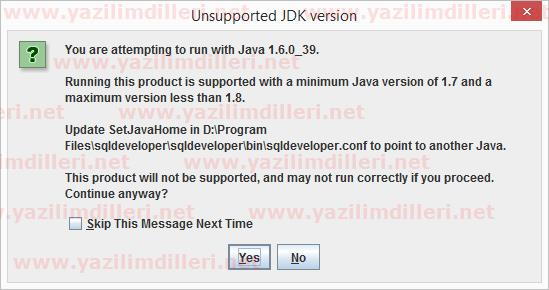 SQL Developer JDK Versiyon Hatası Running this product is not supported with a minimum Java version of x and a maximum version less than